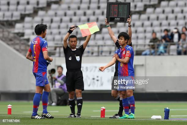 Takefusa Kubo of FC Tokyo makes a top team debut during the JLeague Levain Cup Group A match between FC Tokyo and Consadole Sapporo at Ajinomoto...