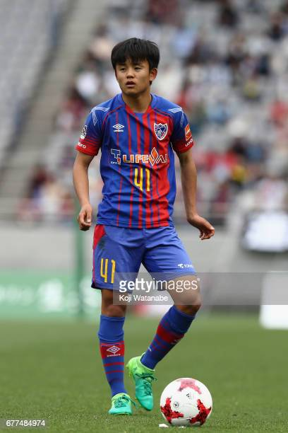 Takefusa Kubo of FC Tokyo prepares for a free kick during the JLeague Levain Cup Group A match between FC Tokyo and Consadole Sapporo at Ajinomoto...