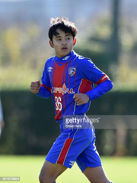 Takefusa Kubo of FC Tokyo U15 Musashi looks on during the Prince Takamado Trophy All Japan Youth Football League Championship match between Sanfrecce...