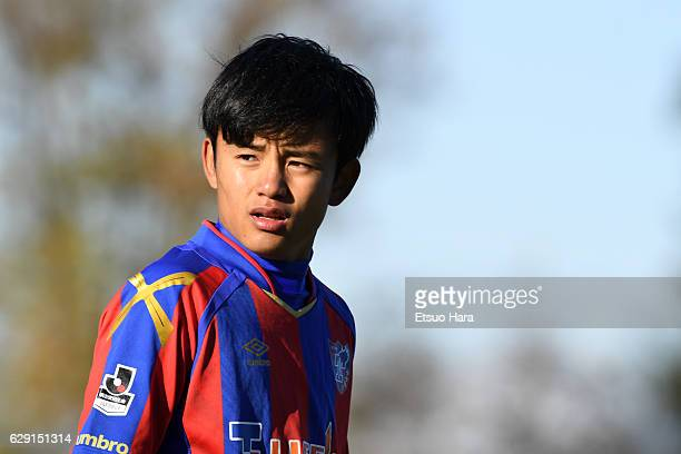 Takefusa Kubo of FC Tokyo U18 looks on during the Prince Takamado Trophy U18 Premier League East match between FC Tokyo U18 and Aomori Yamada at FC...