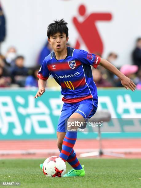 Takefusa Kubo of FC Tokyo U-23 in action during the J.League J3 match between FC Tokyo U-23 and Kagoshima United at Yumenoshima Stadium on April 2,...