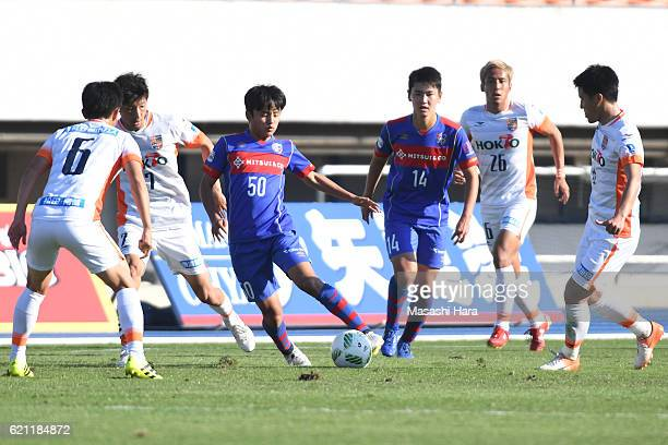 Takefusa Kubo of FC Tokyo U23 in action during the JLeague third division match between FC Tokyo U23 and AC Nagano Parceiro at Komazawa Stadium on...