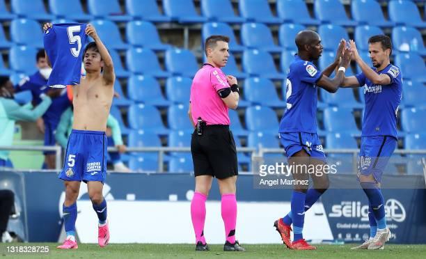 Takefusa Kubo of Getafe CF celebrates after scoring their team's second goal during the La Liga Santander match between Getafe CF and Levante UD at...