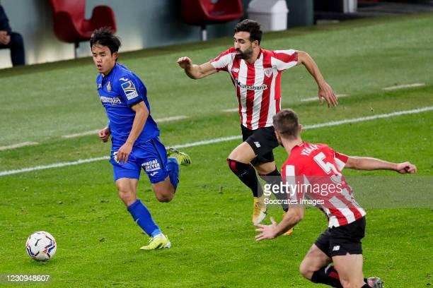 Takefusa Kubo of Getafe CF, Mikel Balenziaga of Athletic Bilbao, Yeray Alvarez of Athletic Bilbao during the La Liga Santander match between Athletic...