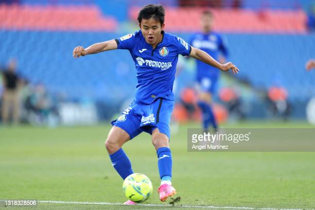 Takefusa Kubo of Getafe CF scores their team's second goal during the La Liga Santander match between Getafe CF and Levante UD at Coliseum Alfonso...