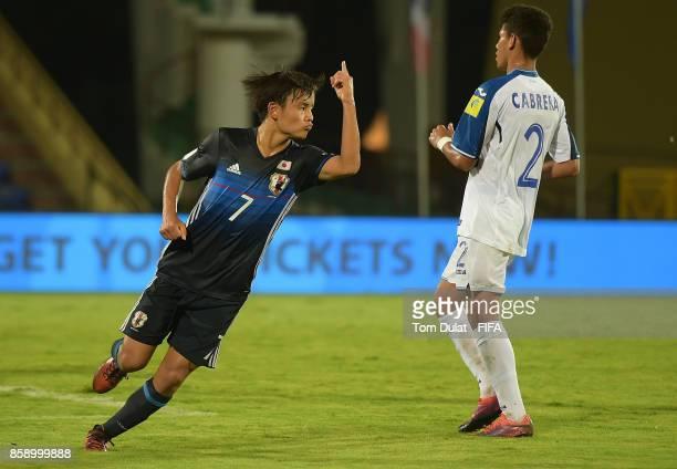 Takefusa Kubo of Japan celebrates scoring a goal during the FIFA U17 World Cup India 2017 group E match between Honduras and Japan at Indira Gandhi...