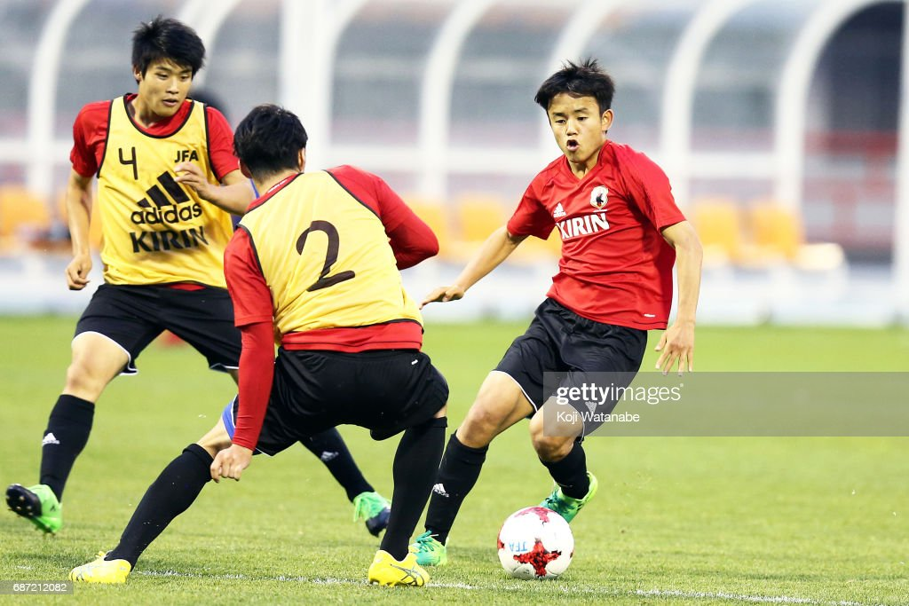 Takefusa Kubo of Japan in action during a training session ahead of the FIFA U-20 World Cup Korea Republic 2017 group D match against Uruguay on May 23, 2017 in Suwon, South Korea.