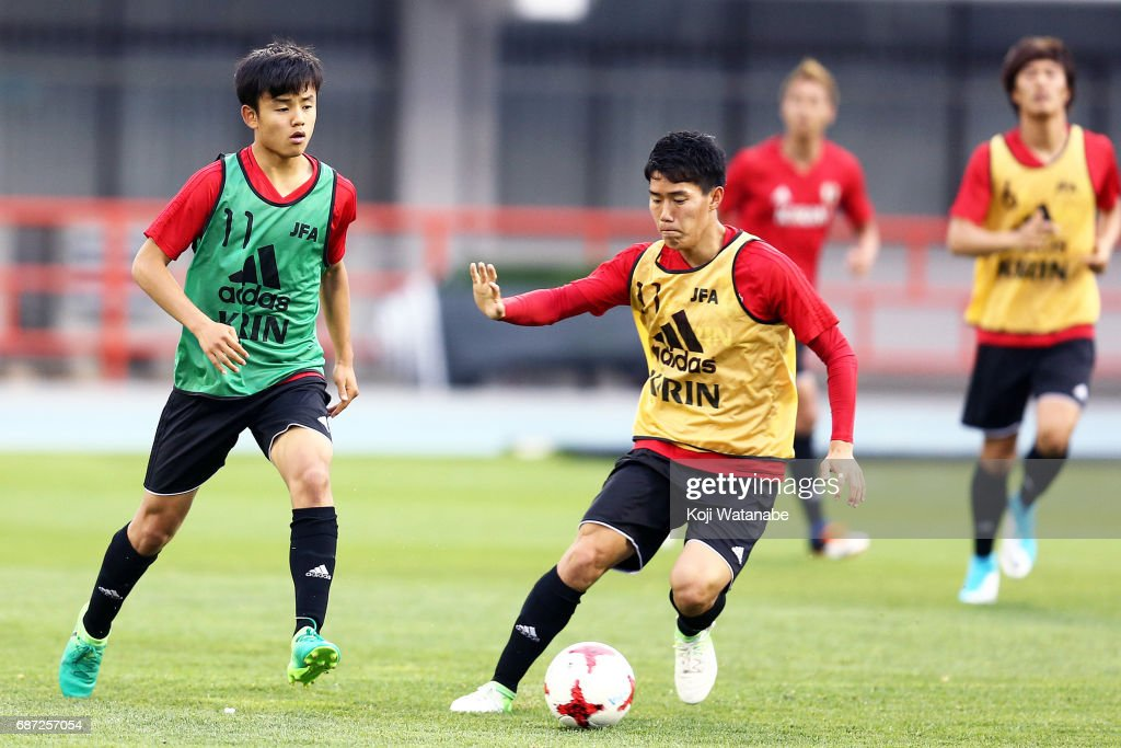 Takefusa Kubo (R) of Japan in action during a training session ahead of the FIFA U-20 World Cup Korea Republic 2017 group D match against Uruguay on May 23, 2017 in Suwon, South Korea.