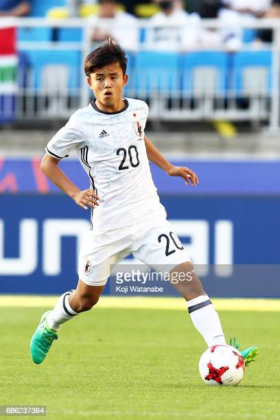 Takefusa Kubo of Japan in action during the FIFA U20 World Cup SKorea Republic 2017 group D match between South Africa and Japan at Suwon World Cup...