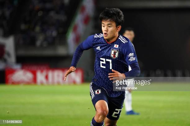 Takefusa Kubo of Japan in action during the international friendly match between Japan and El Salvador at Hitomebore Stadium Miyagi on June 09 2019...