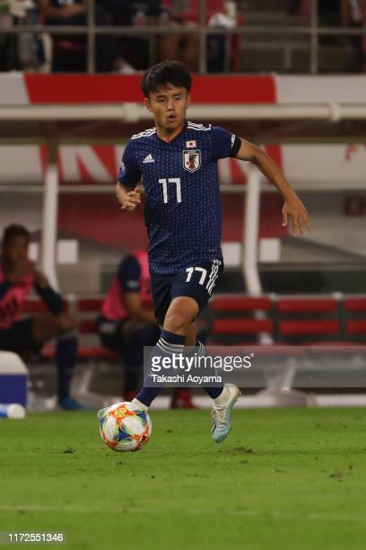 Takefusa Kubo of Japan in action during the international friendly match between Japan and Paraguay at Kashima Soccer Stadium on September 05 2019 in...