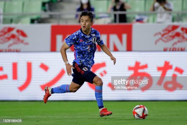 Takefusa Kubo of Japan in action during the U-24 international friendly match between Japan and Spain at the Noevir Stadium Kobe on July 17, 2021 in...