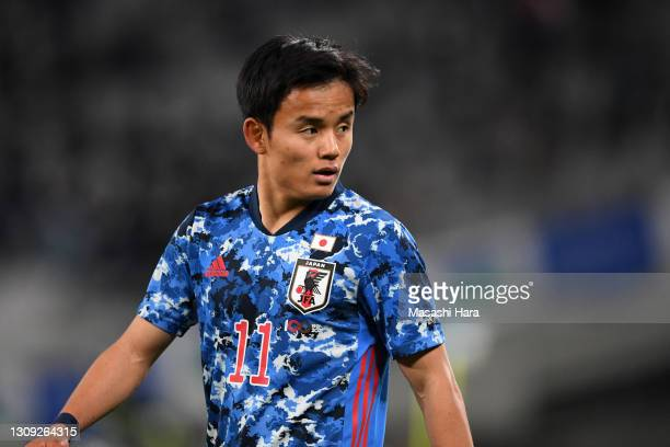 Takefusa Kubo of Japan is seen during the U-24 international friendly match between Japan and Argentina at the Tokyo Stadium on March 26, 2021 in...