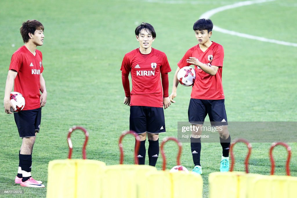 Takefusa Kubo (R) of Japan looks on during a training session ahead of the FIFA U-20 World Cup Korea Republic 2017 group D match against Uruguay on May 23, 2017 in Suwon, South Korea.
