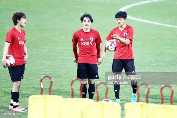Takefusa Kubo of Japan looks on during a training session ahead of the FIFA U20 World Cup Korea Republic 2017 group D match against Uruguay on May 23...