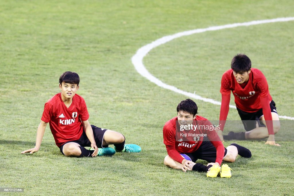 Takefusa Kubo (L) of Japan looks on during a training session ahead of the FIFA U-20 World Cup Korea Republic 2017 group D match against Uruguay on May 23, 2017 in Suwon, South Korea.