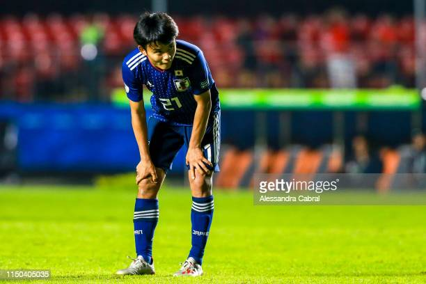 Takefusa Kubo of Japan looks on during the Copa America Brazil 2019 group C match between Japan and Chile at Morumbi Stadium on June 17 2019 in Sao...