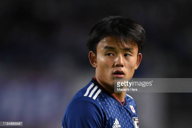 Takefusa Kubo of Japan looks on during the international friendly match between Japan and El Salvador at Hitomebore Stadium Miyagi on June 9 2019 in...