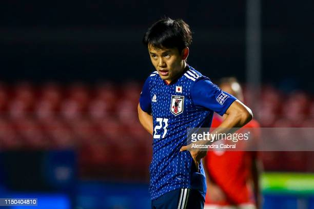 Takefusa Kubo of Japan reacts during the Copa America Brazil 2019 group C match between Japan and Chile at Morumbi Stadium on June 17 2019 in Sao...
