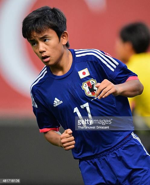 Takefusa Kubo of Japan runs during the friendly match between Thailand U16 and Japan U15 at Leo Stadium on July 23 2015 in Bangkok Thailand