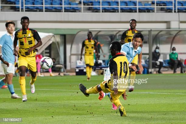 Takefusa Kubo of Japan scores his side's second goal during the U-24 international friendly match between Japan and Ghana at the Best Denki Stadium...