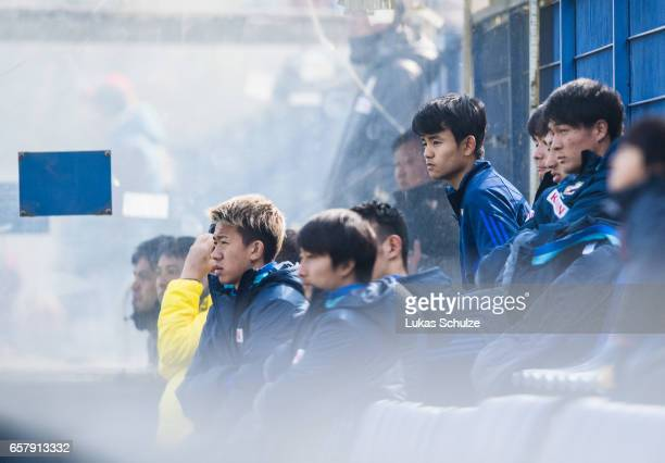 Takefusa Kubo of Japan sits on the bench during a Friendly Match between MSV Duisburg and the U20 Japan on March 26 2017 in Duisburg Germany