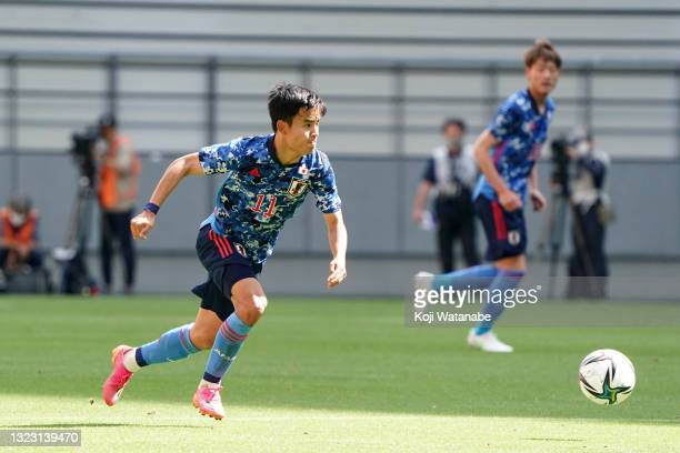 Takefusa Kubo of Japan U-24 in action during the international friendly match between Japan U-24 and Jamaica at the Toyota Stadium on June 12, 2021...