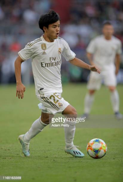 Takefusa Kubo of Madrid runs with the ball during the Audi Cup 2019 semi final match between Real Madrid and Tottenham Hotspur at Allianz Arena on...