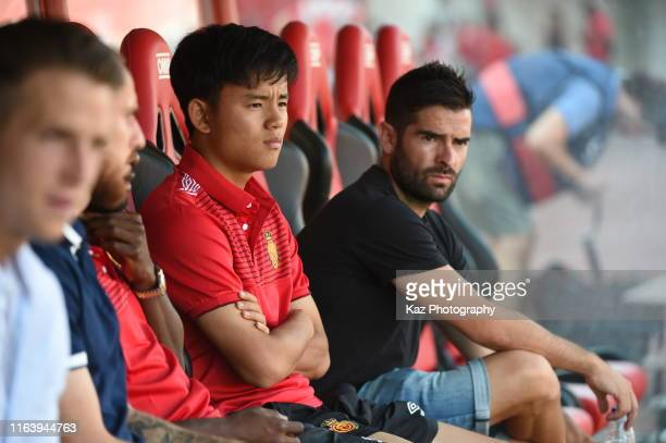 Takefusa Kubo of RCD Mallorca before the Liga match between RCD Mallorca and Real Sociedad at Iberostar Estadi on August 25 2019 in Mallorca Spain