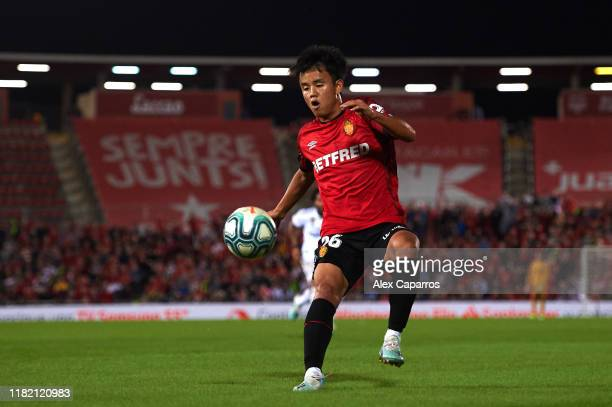 Takefusa Kubo of RCD Mallorca controls the ball during the La Liga match between RCD Mallorca and Real Madrid CF at Iberostar Estadi on October 19...