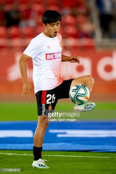 Takefusa Kubo of RCD Mallorca during the prematch warp up prior to the Liga match between RCD Mallorca and Athletic Club at Iberostar Estadi on...