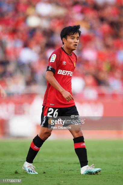 Takefusa Kubo of RCD Mallorca looks on during the La Liga match between RCD Mallorca and Club Atletico de Madrid at Iberostar Estadi on September 25...