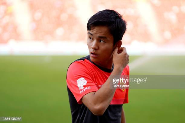 Takefusa Kubo of RCD Mallorca looks on prior to the La Liga Santander match between RCD Mallorca and Real Betis at Estadio de Son Moix on August 14,...