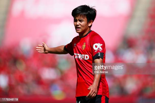 Takefusa Kubo of RCD Mallorca make orders to his teammates during the Liga match between RCD Mallorca and RCD Espanyol at Iberostar Estadi on October...