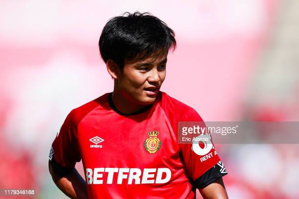 Takefusa Kubo of RCD Mallorca observes the action during the Liga match between RCD Mallorca and RCD Espanyol at Iberostar Estadi on October 06 2019...