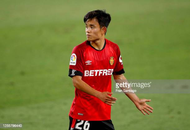 Takefusa Kubo of RCD Mallorca reacts during the La Liga match between Sevilla FC and RCD Mallorca at Estadio Ramon Sanchez Pizjuan on July 12 2020 in...