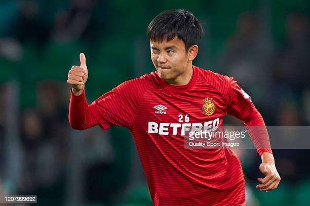Takefusa Kubo of RCD Mallorca reacts prior to the La Liga match between Real Betis Balompie and RCD Mallorca at Estadio Benito Villamarin on February...