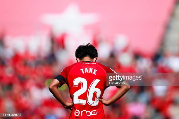 Takefusa Kubo of RCD Mallorca rest for a seconds during the Liga match between RCD Mallorca and RCD Espanyol at Iberostar Estadi on October 06 2019...