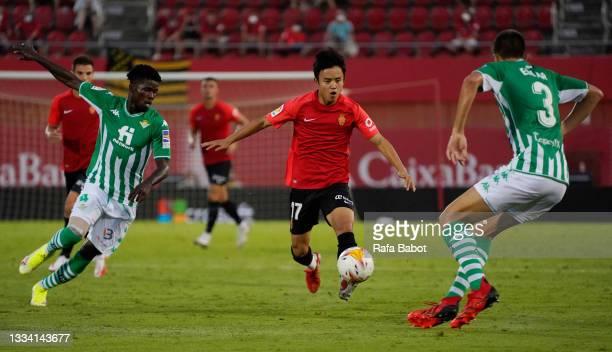 Takefusa Kubo of RCD Mallorca runs with the ball during the La Liga Santander match between RCD Mallorca and Real Betis at Estadio de Son Moix on...