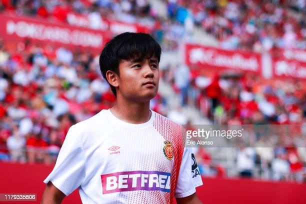 Takefusa Kubo of RCD Mallorca walks to the pitch during the Liga match between RCD Mallorca and RCD Espanyol at Iberostar Estadi on October 06 2019...