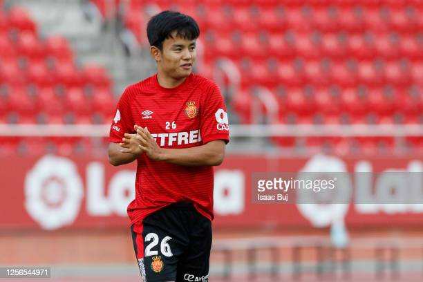 Takefusa Kubo of RCD Mallorca warms up prior the Liga match between RCD Mallorca and Granada CF at Visit Mallorca Estadi on July 16 2020 in Mallorca...
