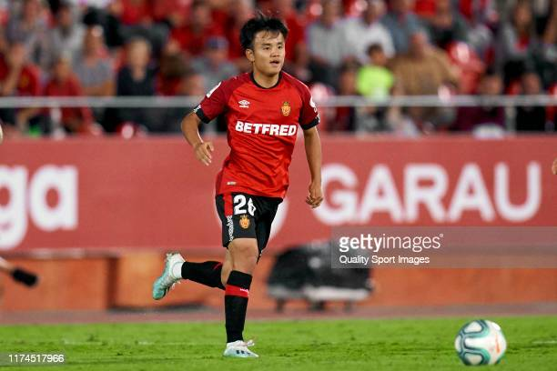Takefusa Kubo of RCD Mallorca with the ball during the Liga match between RCD Mallorca and Athletic Club at Iberostar Estadi on September 13, 2019 in...