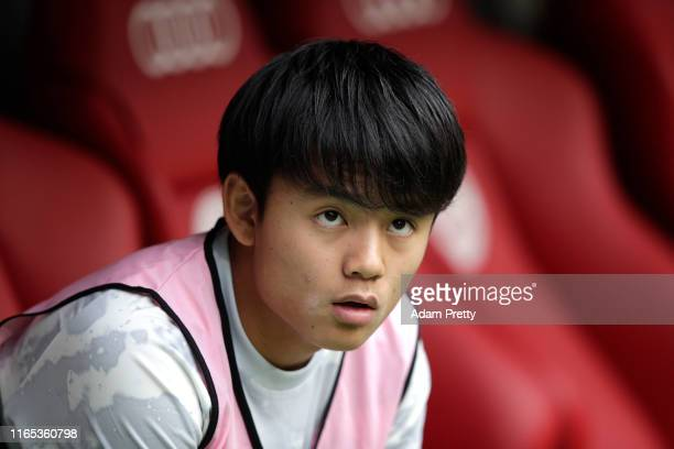 Takefusa Kubo of Real Madrid sits on the bench during the Audi cup 2019 3rd place match between Real Madrid and Fenerbahce at Allianz Arena on July...