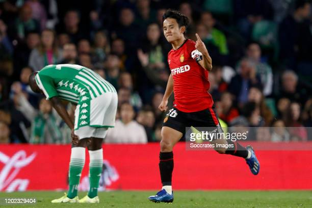 Takefusa Kubo of Real Mallorca celebrates 33 during the La Liga Santander match between Real Betis Sevilla v Real Mallorca at the Estadio Benito...