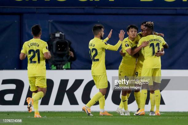 Takefusa Kubo of Villareal celebrates 10 with Alejandro Baena of Villarreal Samu Chukwueze of Villarreal Carlos Bacca of Villareal Jaume Costa of...