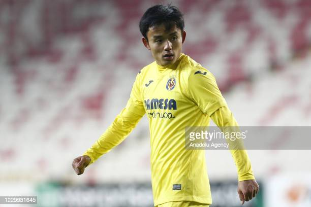 Takefusa Kubo of Villareal gestures during UEFA Europa League Group I match between Demir Grup Sivasspor and Villarreal at the 4 Eylul Stadium in...