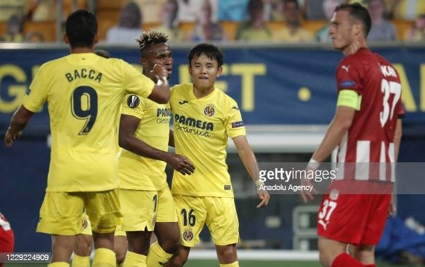 Takefusa Kubo of Villarreal celebrates with his teammates after scoring a goal during UEFA Europa League Group I soccer match between Villarreal and...