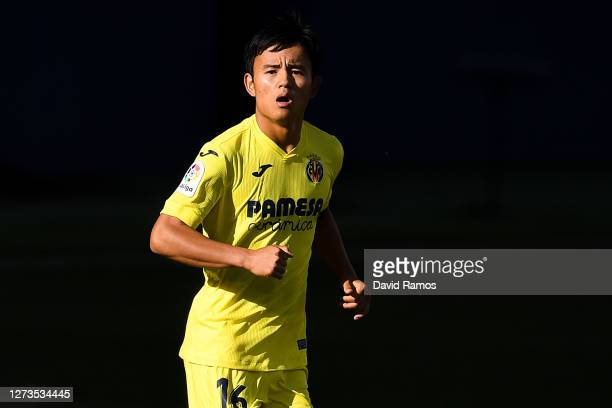 Takefusa Kubo of Villarreal CF looks on during the La Liga Santander match between Villarreal CF and SD Eibar at Estadio de la Ceramica on September...
