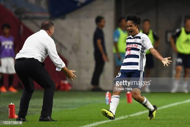 Takefusa Kubo of Yokohama FMarinos celebrates scoring his side's first goal during the JLeague J1 match between Vissel KObe and Yokohama FMarinos at...