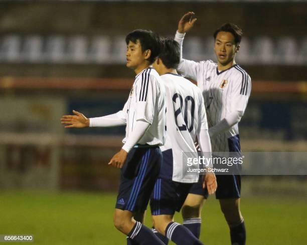 Takefusa Kubo Yuto Iwasaki and Yuta Kamiya of Japan celebrate during a friendly soccer match between F91 Diddeleng and the Japan U20 team at Stade...